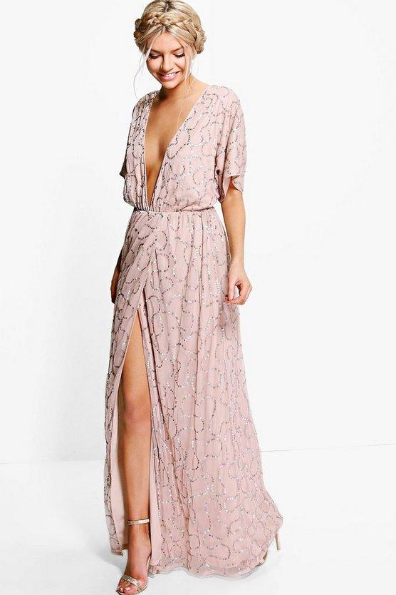 BOOHOO BOUTIQUE ドレス レディースファッション ワンピース レディース 【 Boutique Sequin Plunge Maxi Bridesmaid Dress 】 Rose