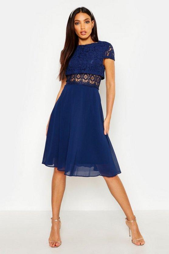 BOOHOO BOUTIQUE ドレス レディースファッション ワンピース レディース 【 Lace Top Chiffon Skater Dress 】 Navy