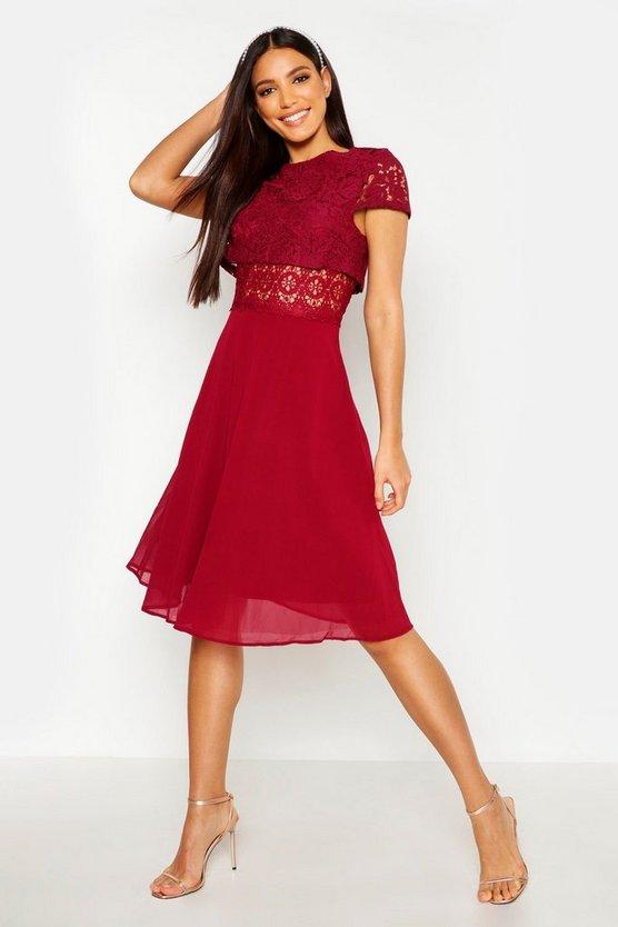 BOOHOO BOUTIQUE ドレス レディースファッション ワンピース レディース 【 Lace Top Chiffon Skater Dress 】 Berry