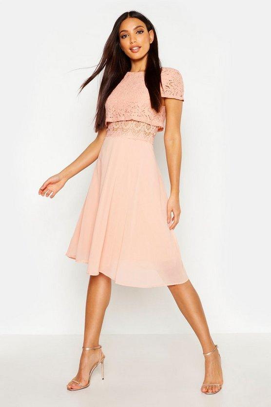 BOOHOO BOUTIQUE ドレス レディースファッション ワンピース レディース 【 Lace Top Chiffon Skater Dress 】 Blush