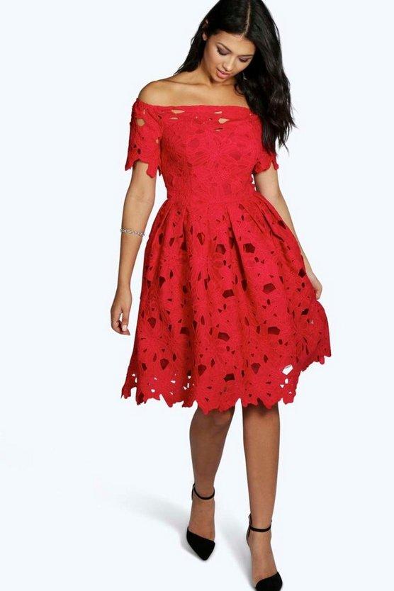 BOOHOO BOUTIQUE ドレス 赤 レッド 【 RED BOOHOO BOUTIQUE OFF SHOULDER LACE SKATER DRESS 】 レディースファッション ワンピース