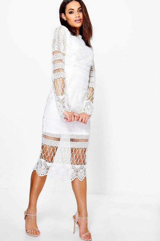 BOOHOO NIGHT ドレス レディースファッション ワンピース レディース 【 Boutique Lace Panelled Midi Dress 】 Ivory