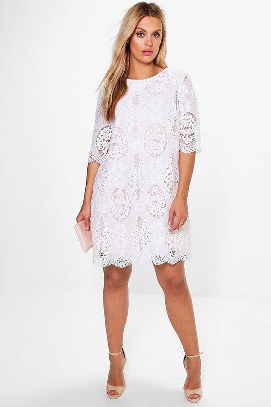 BOOHOO BOUTIQUE ドレス 白 ホワイト 【 WHITE BOOHOO BOUTIQUE PLUS ALL OVER LACE SHIFT DRESS 】 レディースファッション ワンピース