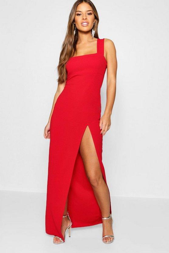 ブーフープチ BOOHOO PETITE 【 SQUARE NECK SPLIT MAXI DRESS RED 】 レディースファッション ワンピース