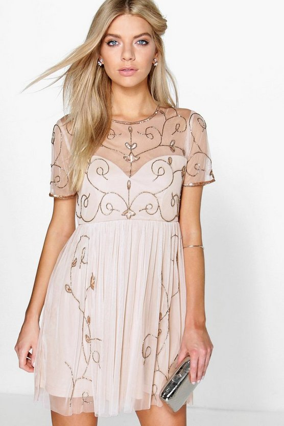 BOOHOO BOUTIQUE ドレス レディースファッション ワンピース レディース 【 Boutique Embellished Skater Dress 】 Nude