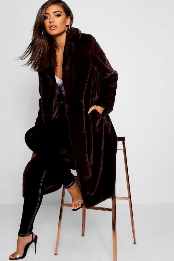 ブーフー BOOHOO レディース 【 Maxi Soft Faux Fur Coat 】 Chocolate