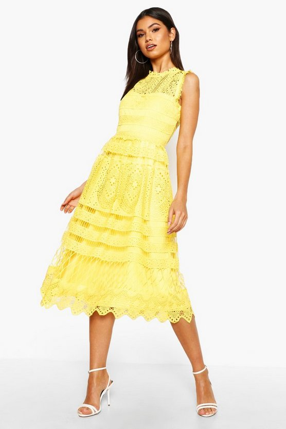 BOOHOO BOUTIQUE ドレス 黄色 イエロー 【 YELLOW BOOHOO BOUTIQUE LACE SKATER BRIDESMAID DRESS 】 レディースファッション ワンピース
