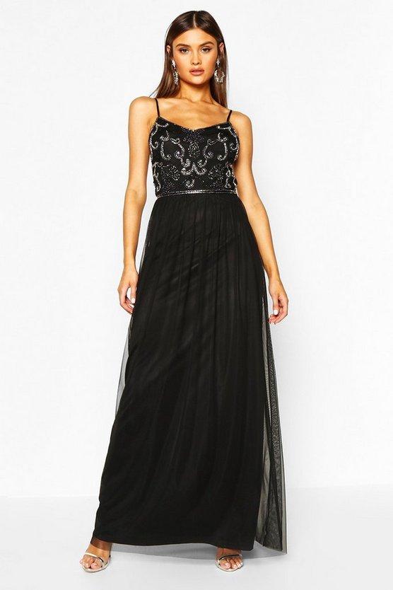 BOOHOO BOUTIQUE ドレス 黒 ブラック 【 BLACK BOOHOO BOUTIQUE EMBELLISHED PROM MAXI DRESS 】 レディースファッション ワンピース