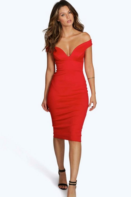 BOOHOO BASICS 【 SWEETHEART OFF SHOULDER BODYCON MIDI DRESS RED 】 レディースファッション ワンピース