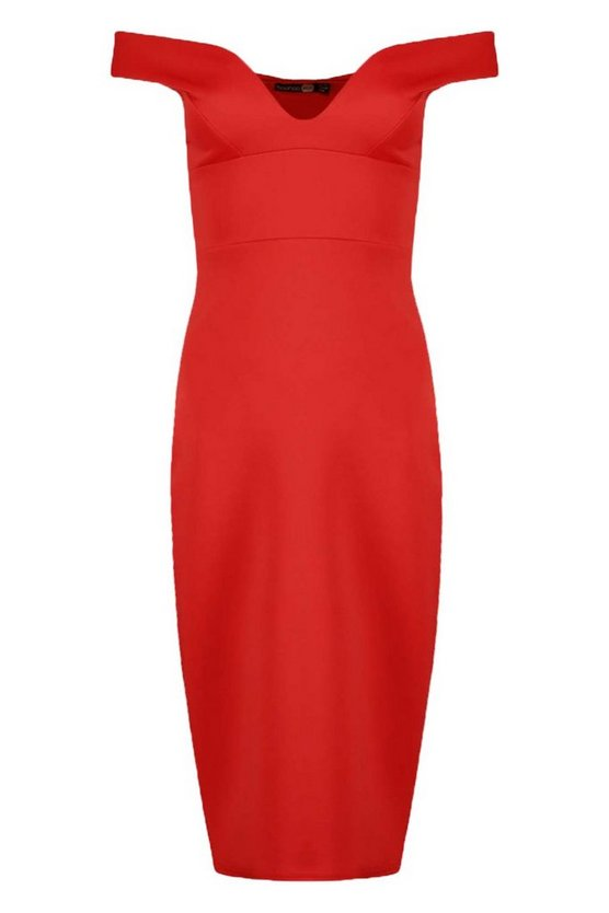 BOOHOO BASICSSWEETHEART OFF SHOULDER BODYCON MIDI DRESS REDkwPOulZXiT