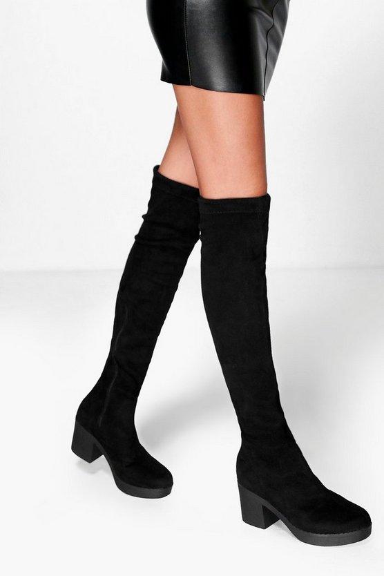 ファッションブランド カジュアル ファッション スニーカー ブーフー BOOHOO ブーツ 新作続 黒色 STRETCH 大幅値下げランキング BOOTS OVER BLACK KNEE THE CLEATED ブラック
