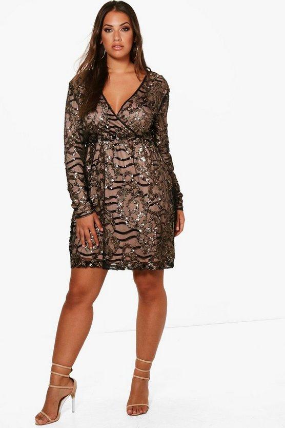 ブーフー BOOHOO ラップ ドレス 黒 ブラック 【 WRAP BLACK BOOHOO PLUS TWO TONE SEQUIN DRESS 】 レディースファッション ワンピース
