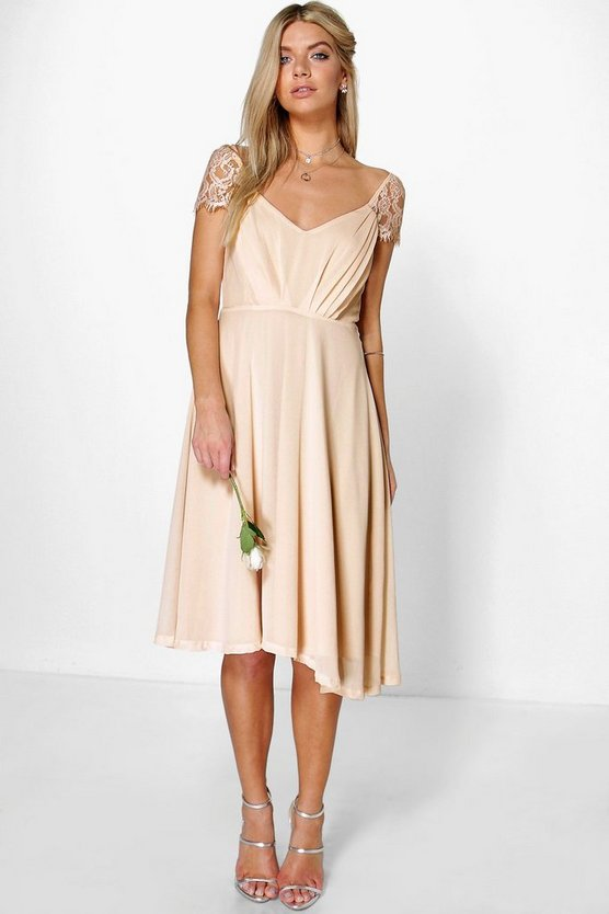 BOOHOO BOUTIQUE ドレス 【 BOOHOO BOUTIQUE CHIFFON LACE MIDI SKATER BRIDESMAID DRESS BLUSH 】 レディースファッション ワンピース