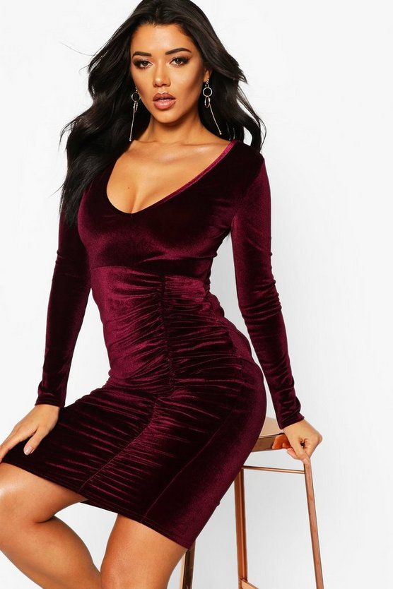 BOOHOO NIGHT ドレス レディースファッション ワンピース レディース 【 Velvet Ruched Detail Midi Dress 】 Berry