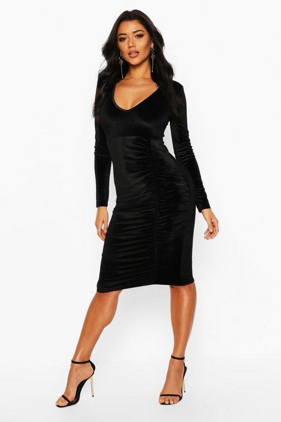 BOOHOO NIGHT ナイト ドレス 黒 ブラック 【 BLACK BOOHOO NIGHT VELVET RUCHED DETAIL MIDI DRESS 】 レディースファッション ワンピース