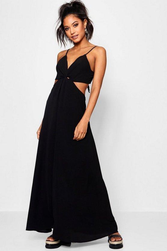 ブーフー BOOHOO 【 KNOT FRONT TIE BACK MAXI DRESS BLACK 】 レディースファッション ワンピース