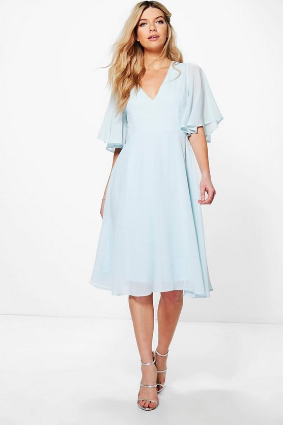 BOOHOO BOUTIQUE スリーブ ドレス スカイ 【 SLEEVE BOOHOO BOUTIQUE CHIFFON ANGEL MIDI SKATER BRIDESMAID DRESS SKY 】 レディースファッション ワンピース