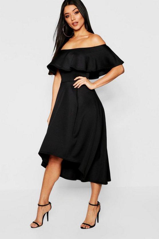 BOOHOO BOUTIQUE ドレス レディースファッション ワンピース レディース 【 Off The Shoulder Dip Hem Skater Bridesmaid Dress 】 Black