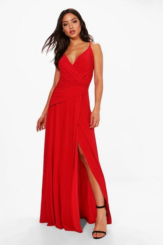 BOOHOO BOUTIQUE ラップ 【 WRAP RUCHED STRAPPY MAXI DRESS RED 】 レディースファッション ワンピース 送料無料