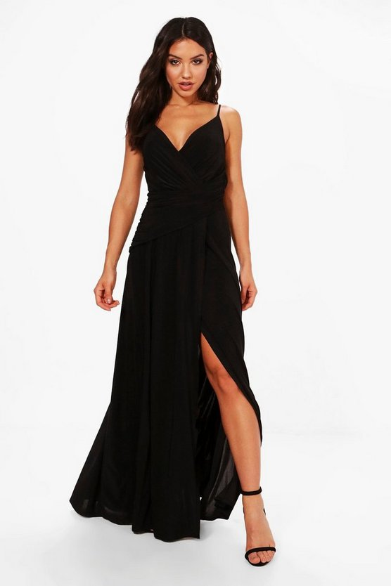 BOOHOO BOUTIQUE ラップ ドレス 黒 ブラック 【 WRAP BLACK BOOHOO BOUTIQUE SLINKY RUCHED STRAPPY MAXI BRIDESMAID DRESS 】 レディースファッション ワンピース