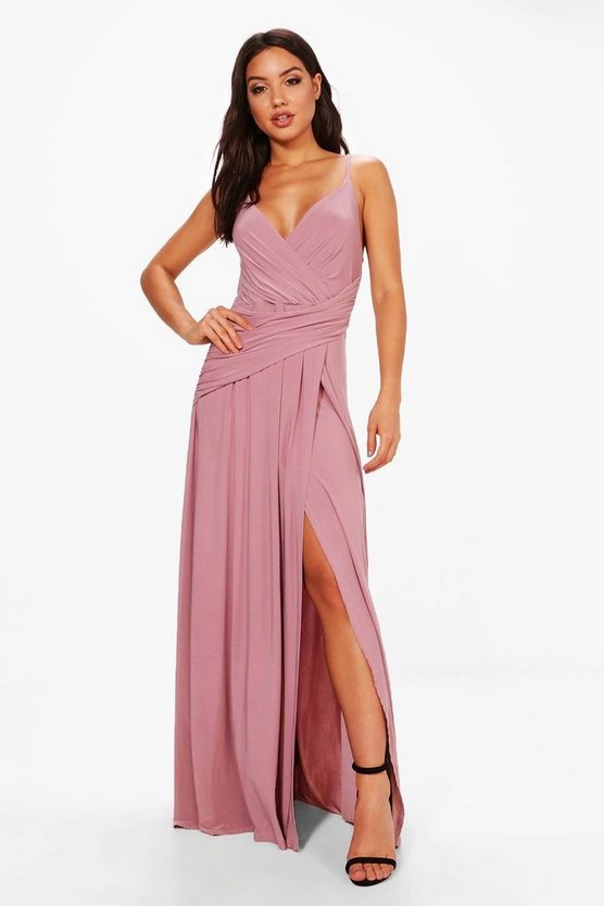 BOOHOO BOUTIQUE ラップ ドレス 【 WRAP BOOHOO BOUTIQUE SLINKY RUCHED STRAPPY MAXI BRIDESMAID DRESS MAUVE 】 レディースファッション ワンピース