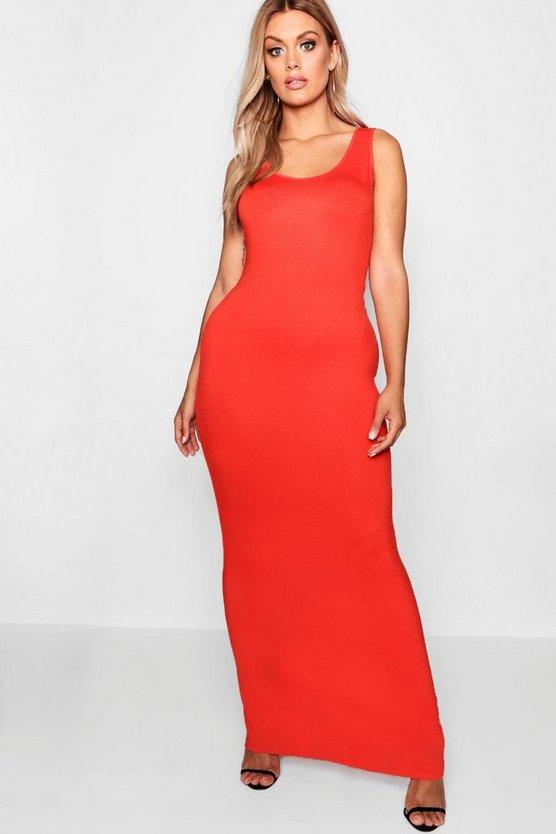 BOOHOO BASICS ドレス 橙 オレンジ 【 ORANGE BOOHOO BASICS PLUS SCOOP NECK MAXI DRESS 】 レディースファッション ワンピース
