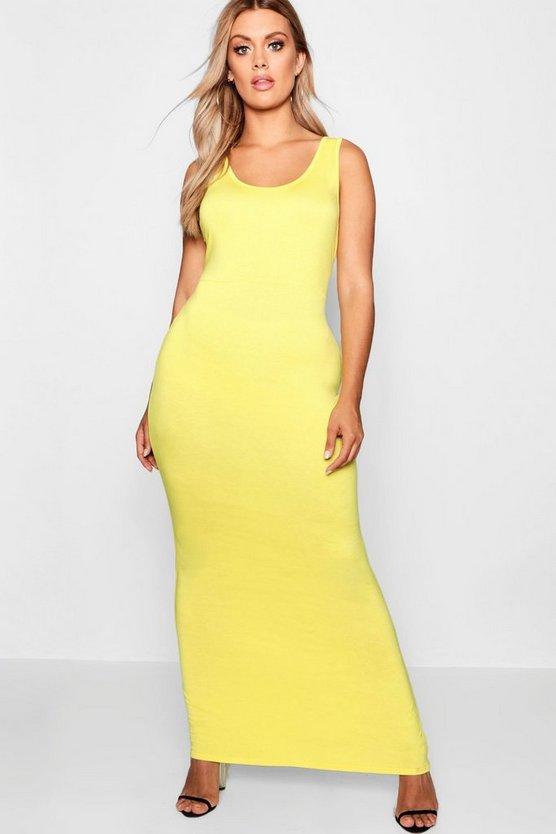BOOHOO BASICS ドレス 黄色 イエロー 【 YELLOW BOOHOO BASICS PLUS SCOOP NECK MAXI DRESS 】 レディースファッション ワンピース