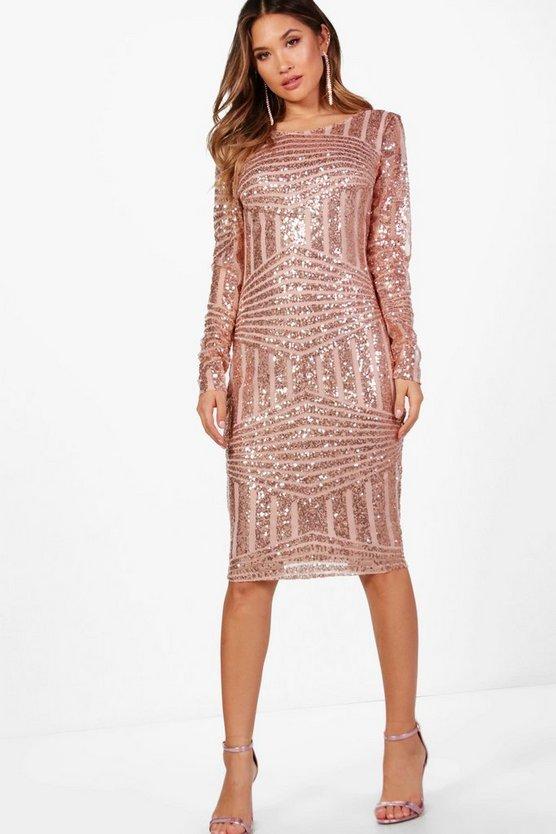 BOOHOO NIGHT ドレス レディースファッション ワンピース レディース 【 Boutique Sequin And Mesh Midi Dress 】 Rose