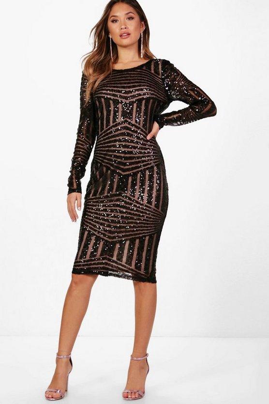 BOOHOO NIGHT ドレス レディースファッション ワンピース レディース 【 Boutique Sequin And Mesh Midi Dress 】 Black
