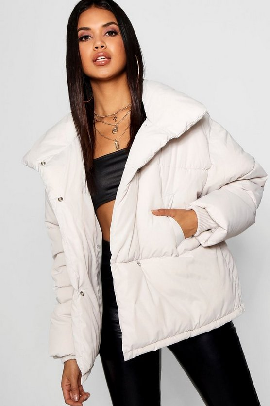 ブーフー BOOHOO ラップ レディース 【 Funnel Wrap Neck Puffer Jacket 】 Dove