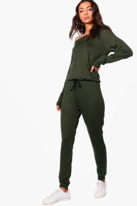BOOHOO TALL 【 SLASH NECK LOUNGE JUMPSUIT KHAKI 】 レディースファッション オールインワン サロペット