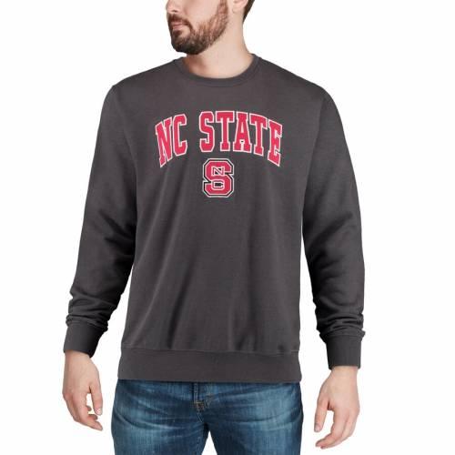 COLOSSEUM スケートボード ロゴ 黒 ブラック メンズファッション トップス スウェット トレーナー メンズ 【 Nc State Wolfpack Arch And Logo Crew Neck Sweatshirt - Black 】 Charcoal