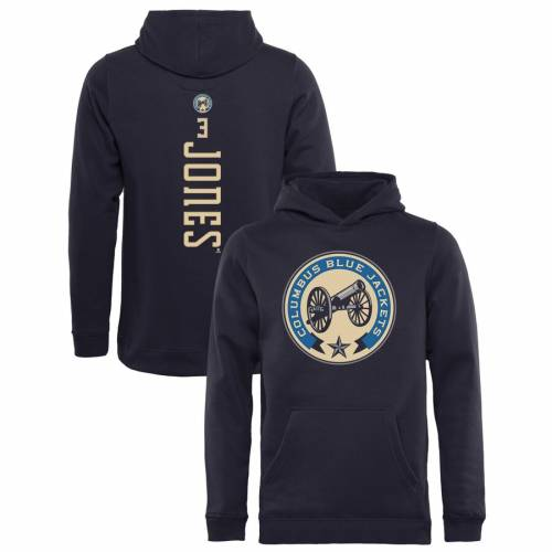 FANATICS BRANDED 青 ブルー 子供用 【 BLUE SETH JONES COLUMBUS JACKETS YOUTH BACKER PULLOVER HOODIE NAVY 】 キッズ ベビー マタニティ