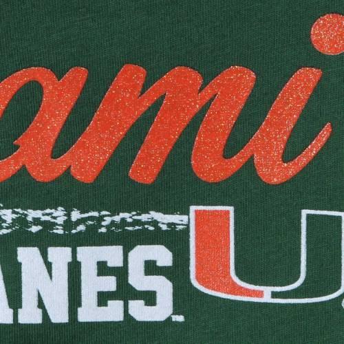 GARB マイアミ ベビー 赤ちゃん用 スリーブ Tシャツ 緑 グリーン 赤ちゃん 幼児 キッズ マタニティ トップス ジュニア 【 Miami Hurricanes Girls Toddler Paige Football Striped Long Sleeve T-shirt - Green 】 G
