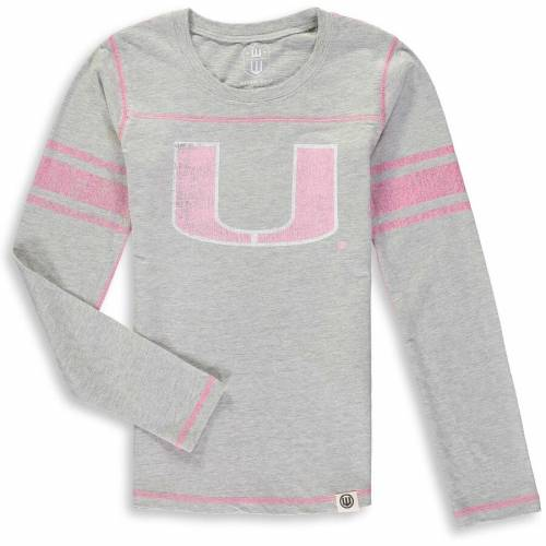 WES & WILLY マイアミ 子供用 ジャージ スリーブ Tシャツ 灰色 グレー グレイ キッズ ベビー マタニティ トップス ジュニア 【 Miami Hurricanes Wes And Willy Girls Youth Slub Jersey Long Sleeve T-shirt - Hea
