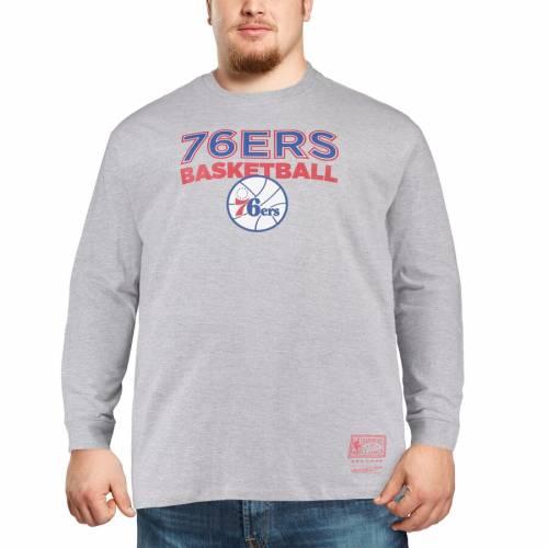 ミッチェル&ネス MITCHELL & NESS フィラデルフィア セブンティシクサーズ ロゴ スリーブ Tシャツ 灰色 グレー グレイ メンズファッション トップス カットソー メンズ 【 Philadelphia 76ers