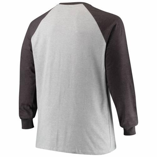 PROFILE デトロイト ライオンズ ラグラン スリーブ Tシャツ 灰色 グレー グレイ メンズファッション トップス カットソー メンズ 【 Detroit Lions Big And Tall Contrast Raglan Long Sleeve T-shirt - Heathered