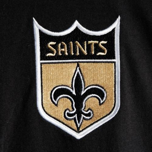 ミッチェル&ネス MITCHELL & NESS セインツ ヘンリー Tシャツ 黒 ブラック メンズファッション トップス カットソー メンズ 【 New Orleans Saints Mitchell And Ness Big And Tall Henley 3/4-sleeve T-shirt - B