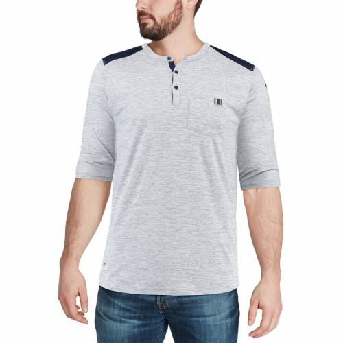 ナイキ NIKE ラムズ パフォーマンス ヘンリー Tシャツ メンズファッション トップス カットソー メンズ 【 Los Angeles Rams Performance Henley 3/4-sleeve T-shirt - Heathered Gray/navy 】 Heathered Gray/navy