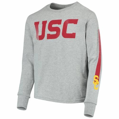 289C APPAREL 子供用 Tシャツ 灰色 グレー グレイ キッズ ベビー マタニティ ジュニア 【 Usc Trojans Youth Jammer 3-in-1 T-shirt Combo Set - Cardinal/heathered Gray 】 Cardinal/heathered Gray