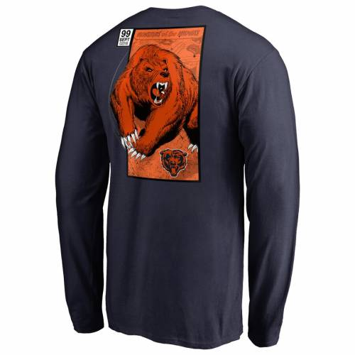 NFL PRO LINE BY FANATICS BRANDED シカゴ ベアーズ スリーブ Tシャツ 紺 ネイビー メンズファッション トップス カットソー メンズ 【 Chicago Bears Big And Tall Midway Monster Long Sleeve T-shirt - Navy 】 Navy