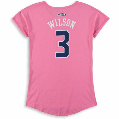 OUTERSTUFF ラッセル ウィルソン シアトル シーホークス 子供用 Tシャツ ピンク キッズ ベビー マタニティ トップス ジュニア 【 Russell Wilson Seattle Seahawks Girls Youth Dolman Mainliner Name And Number T-s