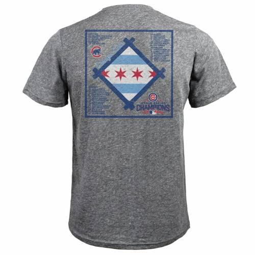 MAJESTIC THREADS シカゴ カブス シリーズ Tシャツ ヘザー 灰色 グレー グレイ メンズファッション トップス カットソー メンズ 【 Chicago Cubs 2016 World Series Champions Toast Champs Roster T-shirt - Heather