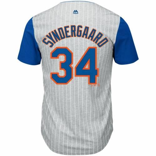 マジェスティック MAJESTIC メッツ Tシャツ メンズファッション トップス カットソー メンズ 【 Noah Syndergaard New York Mets From The Stretch Pinstripe Name And Number T-shirt - Gray/royal 】 Gray/royal