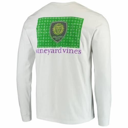 VINEYARD VINES オーランド シティ フィールド スリーブ Tシャツ 白 ホワイト メンズファッション トップス カットソー メンズ 【 Orlando City Sc Checkered Field Long Sleeve T-shirt - White 】 White