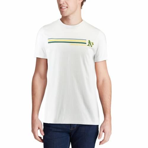 VINEYARD VINES オークランド ストライプ Tシャツ 白 ホワイト メンズファッション トップス カットソー メンズ 【 Oakland Athletics Three Stripe T-shirt - White 】 White