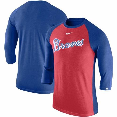 ナイキ NIKE アトランタ ブレーブス ラグラン Tシャツ 赤 レッド メンズファッション トップス カットソー メンズ 【 Atlanta Braves Wordmark Tri-blend Raglan 3/4-sleeve T-shirt - Red 】 Red