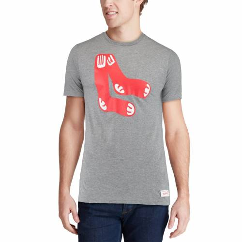ミッチェル&ネス MITCHELL & NESS ボストン 赤 レッド ロゴ Tシャツ 【 RED BOSTON SOX XL LOGO TAILORED TSHIRT GRAY 】 メンズファッション トップス カットソー 送料無料