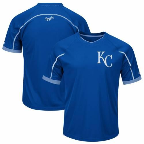 マジェスティック MAJESTIC カンザス シティ ロイヤルズ ブイネック Tシャツ 青 ブルー メンズファッション トップス カットソー メンズ 【 Kansas City Royals Big And Tall Emergence V-neck T-shirt - Roya