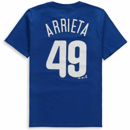 マジェスティック MAJESTIC フィラデルフィア フィリーズ 子供用 Tシャツ キッズ ベビー マタニティ トップス ジュニア 【 Jake Arrieta Philadelphia Phillies Youth Name And Number T-shirt - Royal 】 Royal
